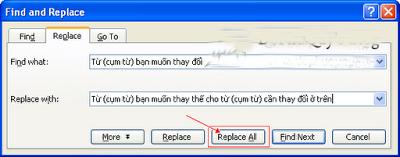 Office tips Thay đổi hàng loạt từ (cụm từ) trong Word