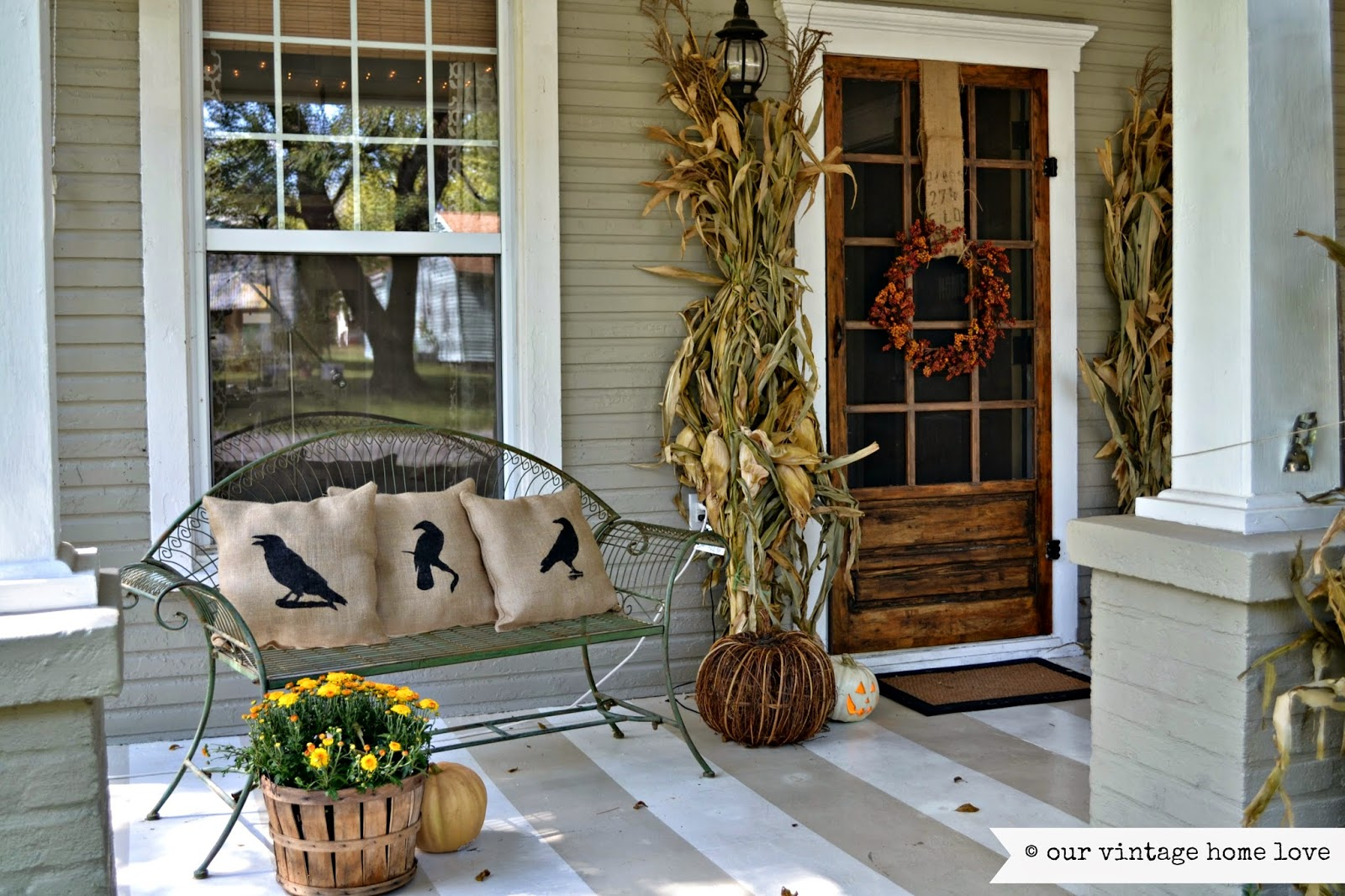 Vintage home love fall porch ideas for Front door patio ideas