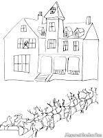 Mewarnai gambar Santa Klaus memberikan hadiah kerumah-rumah penduduk