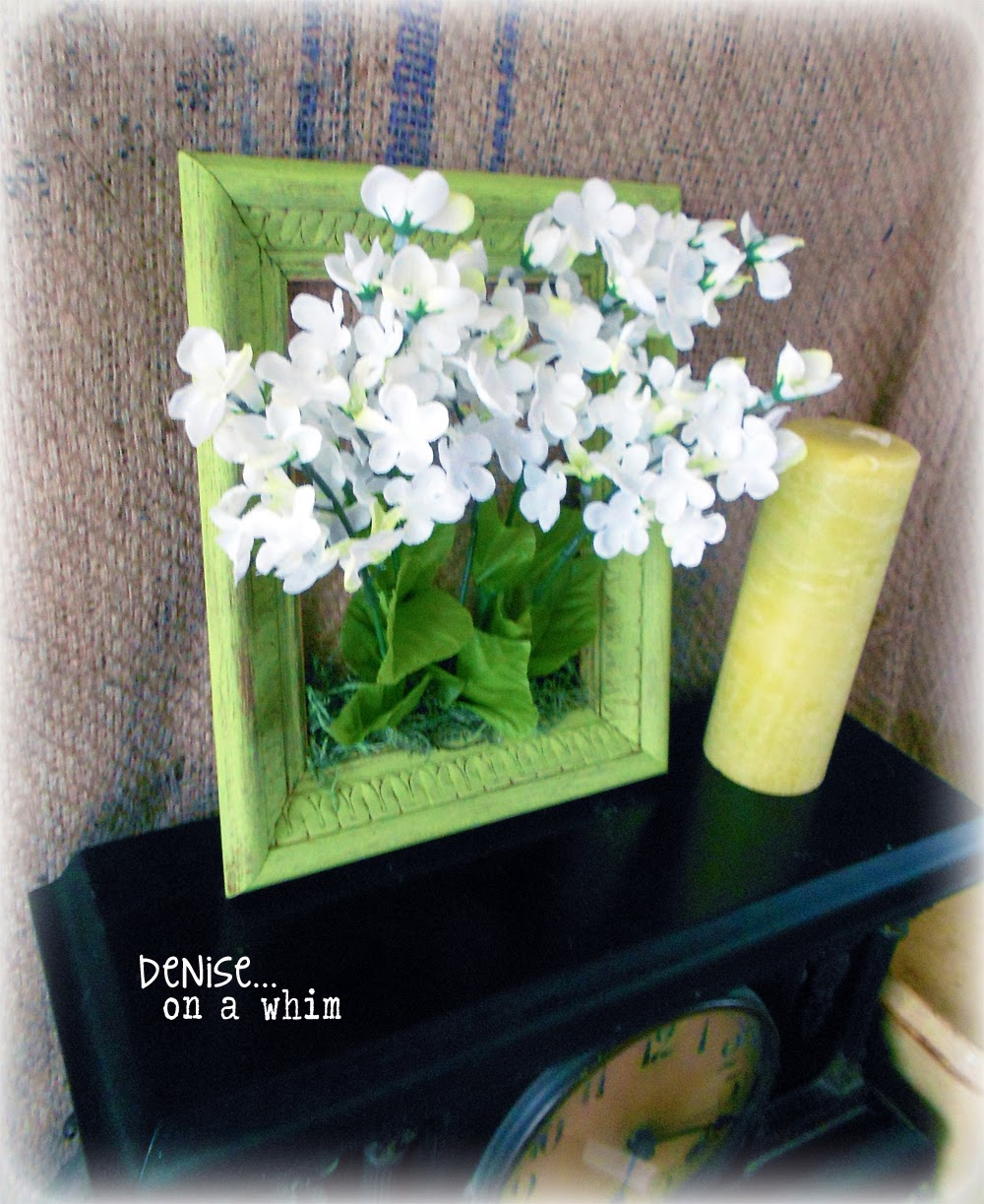 Flower bouquet in a frame via http://deniseonawhim.blogspot.com