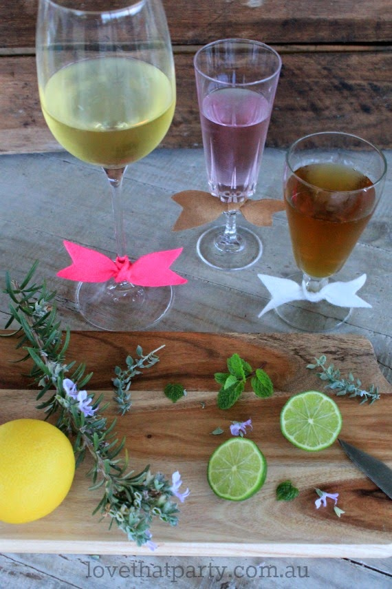 Really Sweet DIY Cocktail Glassbow ties to pretty up your next gathering. Love That Party