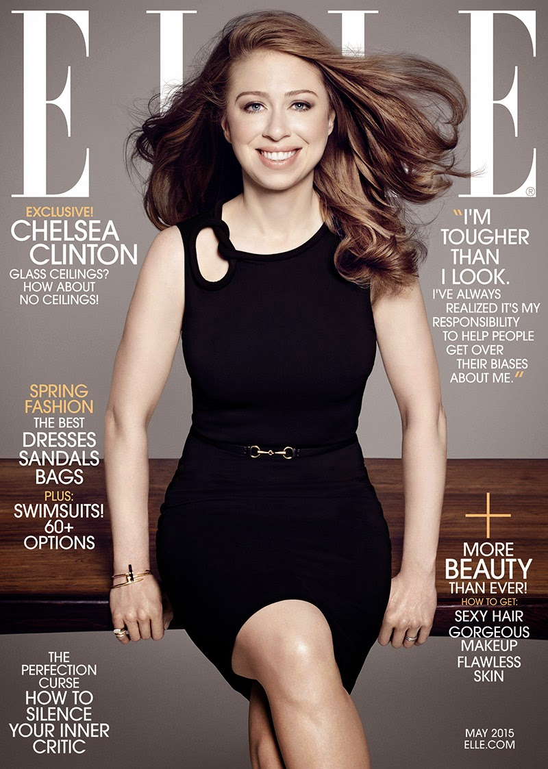 Chelsea Clinton covers Elle US May 2015 in a black Gucci dress
