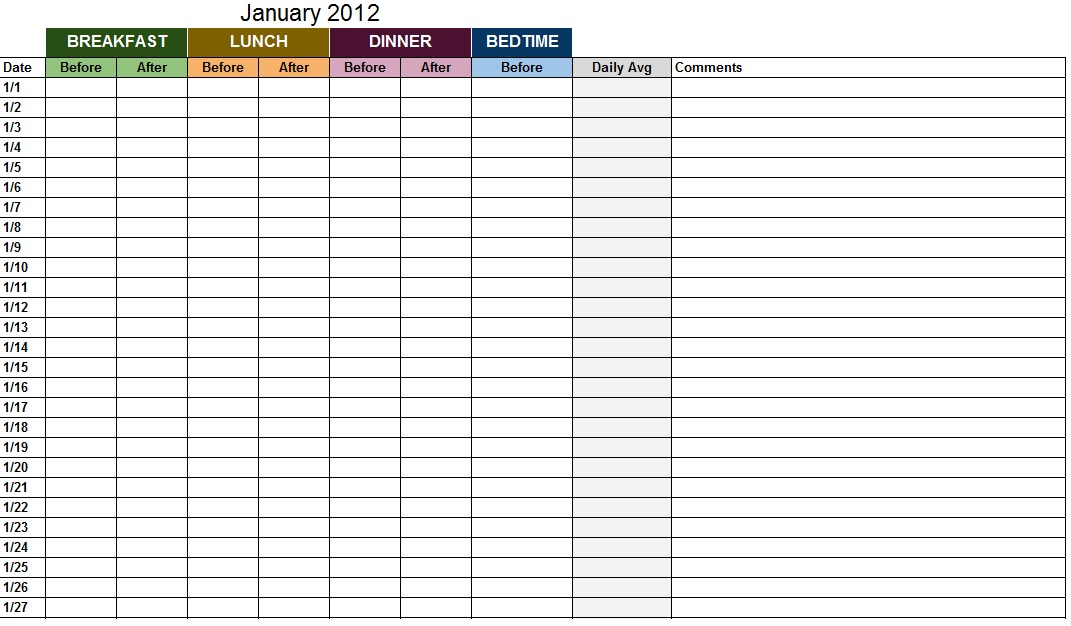 blood sugar log template sample
