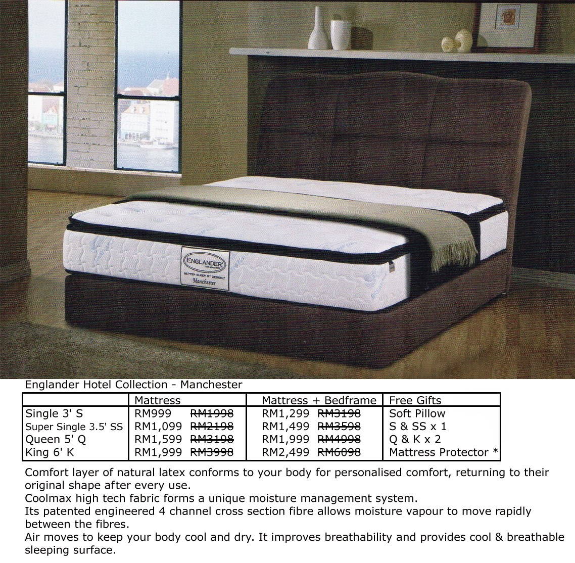 Englander Manchester Hotel Collection Queen Size Mattress RM1599