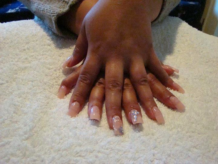 Pastel-soft-baby-pink-tip-overlay-clear-swarovski-crystals-white-dots