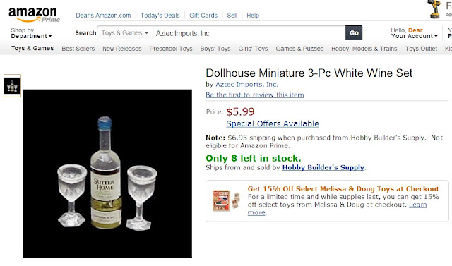 Dollhouse Miniature 3-Pc White Wine Set by Dear Miss Mermaid