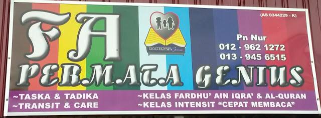 Pendaftaran Tadika @ Taska F.A Permata Genius Telah Dibuka