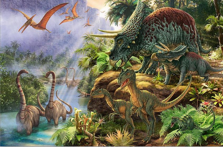 Im genes arte pinturas paisajes de fantasia del mundo for Dinosaur land wallpaper mural