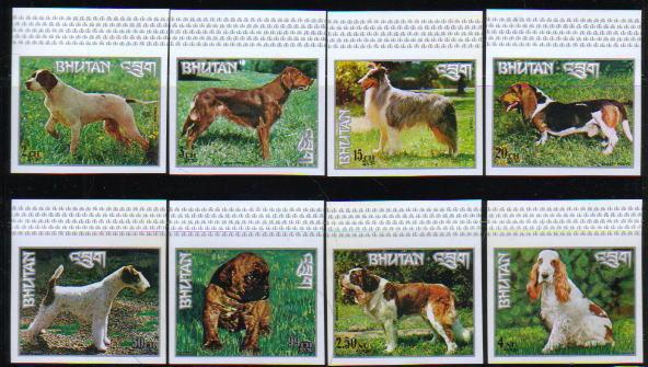 1973年ブータン王国 ポインター アイリッシュ・セター ラフ・コリー バセット・ハウンド フォックス・テリア ボクサー セント・バーナード コッカー・スパニエルの切手
