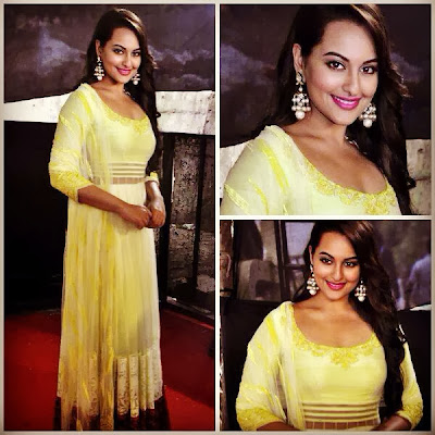 Sonakshi Sinha 's look for Bullet Raja promotional event on Star Plus Diwali Special show