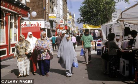 Troubled: Whitechapel in east London is at the centre of the hate campaign ...
