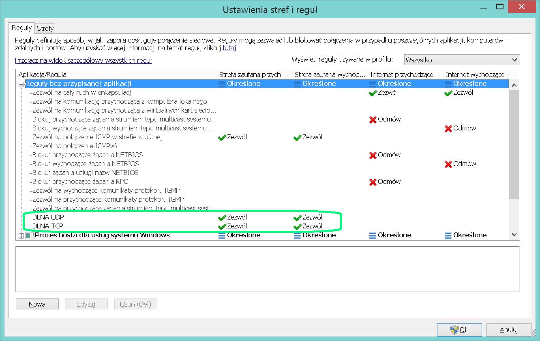 Poprawnie dodane reguły portów UDP i TCP.