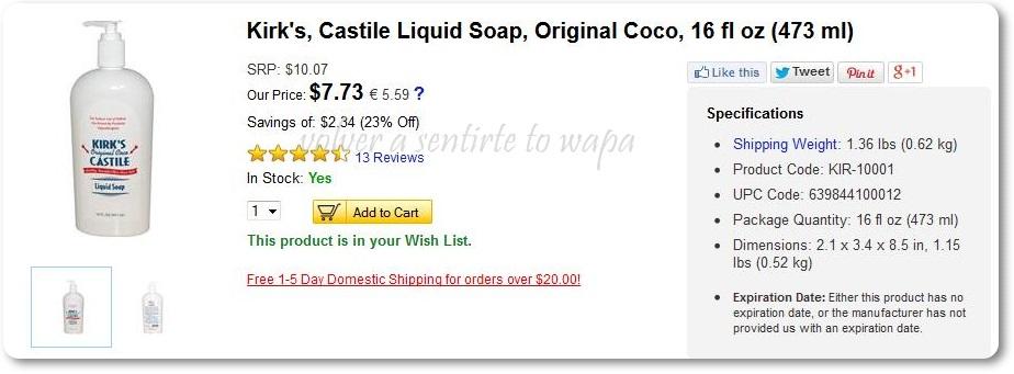 iHerb - Jabón de coco Kirk's para lavar brochas