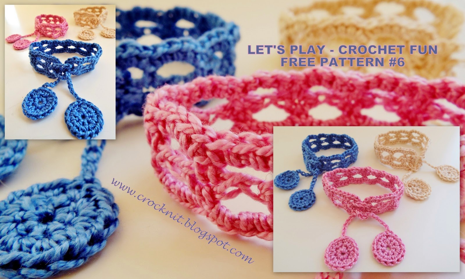free crochet pattern bracelet cuff cotton