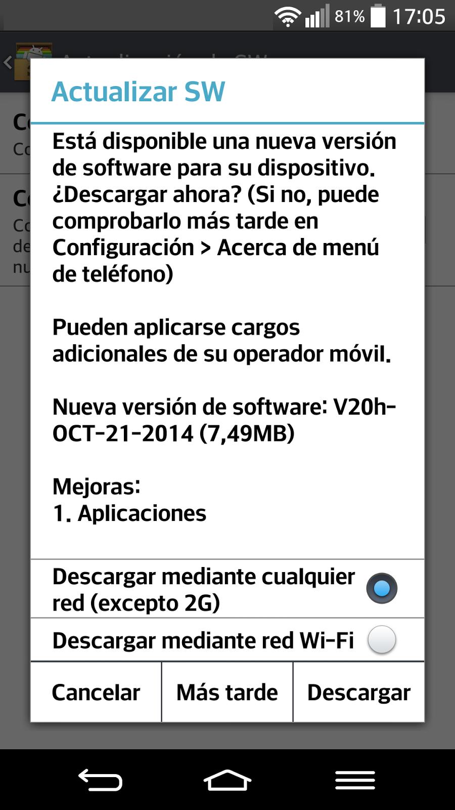 Actualización a V20H del LG G2.