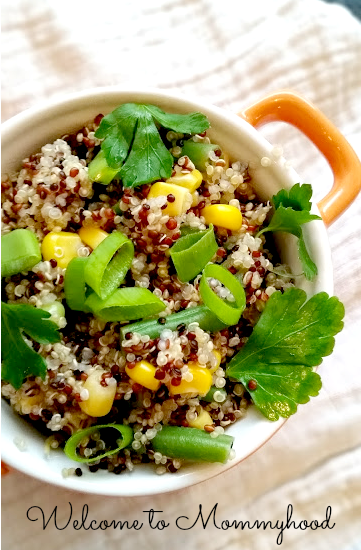 Easy healthy recipes: quinoa and green bean salad {Welcome to Mommyhood} #easyhealthyrecipes, #quinoarecipe, #healthytoddlerrecipes