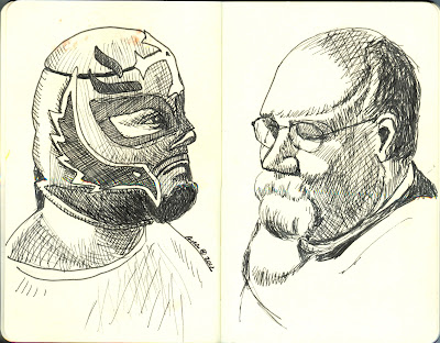 Lucha Libre (Left) and Anthony (Right) - Pen and Ink by Ana Tirolese ©2012