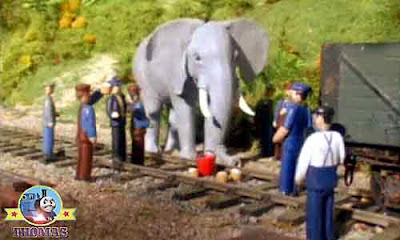 Island of Sodor carnival circus friendly elephant stopped pushing and came towards the rail workers