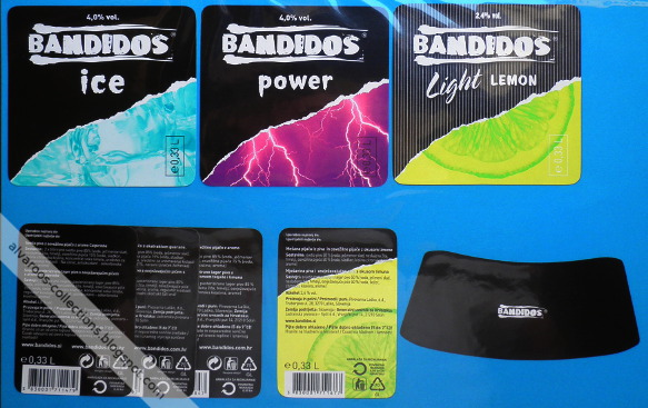 Beer labels: Bandidos ice, power, light lemon