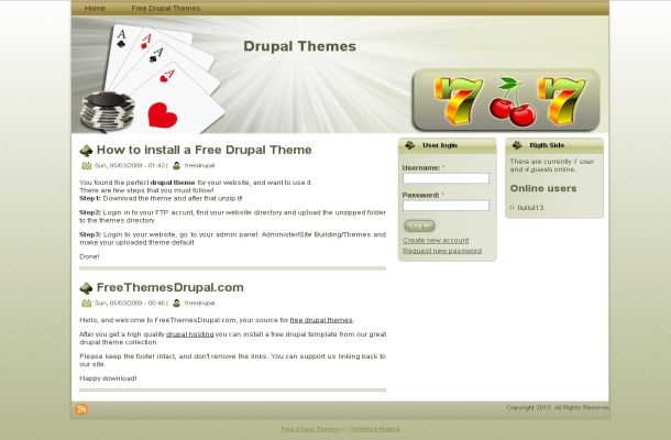 Free Green Casino Poker Drupal Theme Template