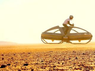 летающий мотоцикл на испытаниях