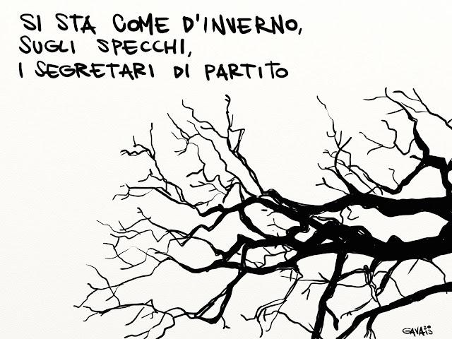 Gava gavavenezia satira vignette caricature ridere pensare alberi foglie autunno cadere pd m5s  partito segretario specchi albero