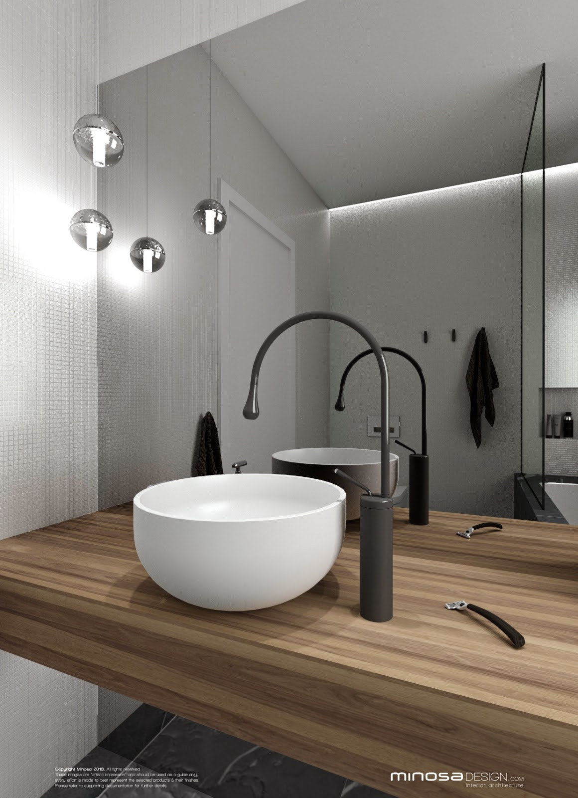 Minosa bathroom design small space feels large for Bathroom room design