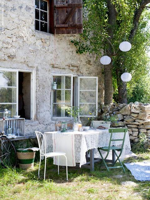 ikea, lamps, garden dinner