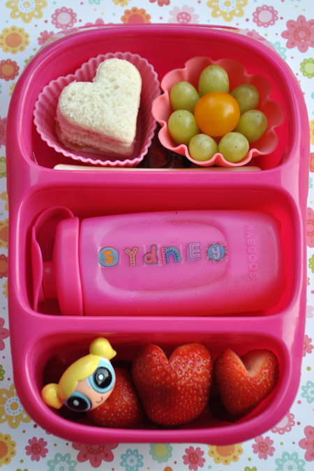 Goodbyn Bynto Bento School Lunch with Strawberry Hearts & a Powerpuff Girl :)