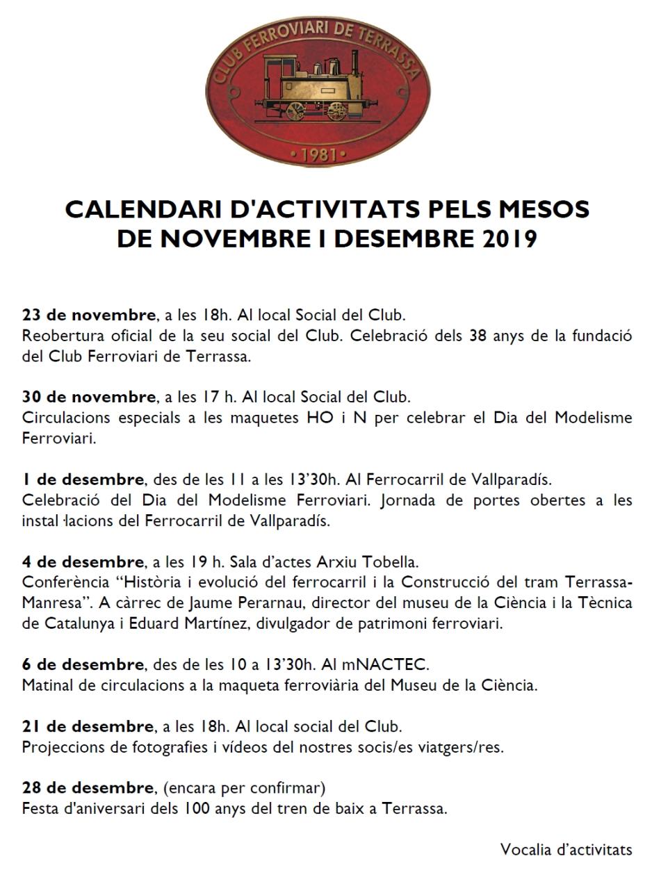 Activitats del Club Ferroviari de Terrassa - Novembre i Desembre del 2019.