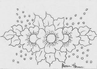 risco de flores para barra de pano de copa