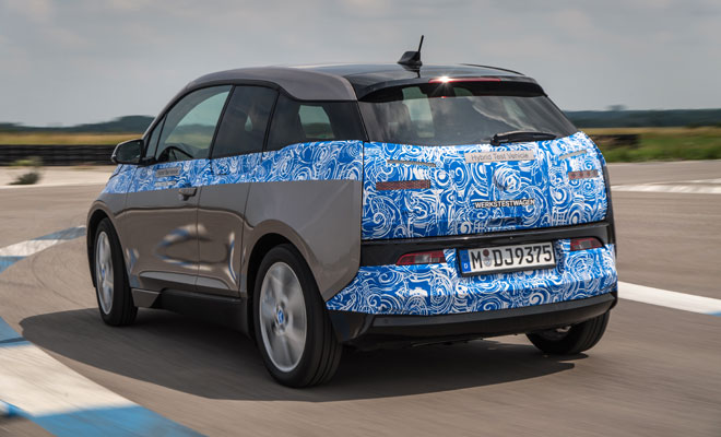 BMW i3 in light disguise - rear view