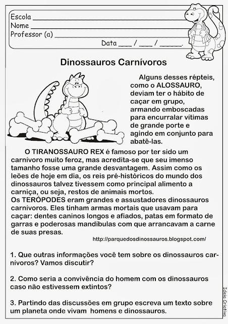 Atividade Sobre Dinossauros Carnívoros
