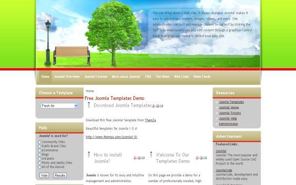 the fresh air joomla 1 health green jquery joomla theme template free