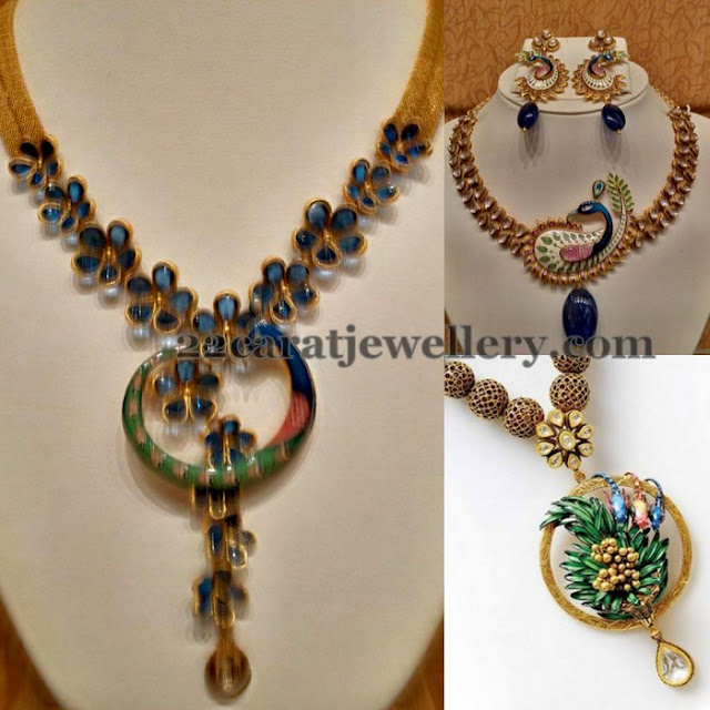 Peacock Feather Meena Work Sets