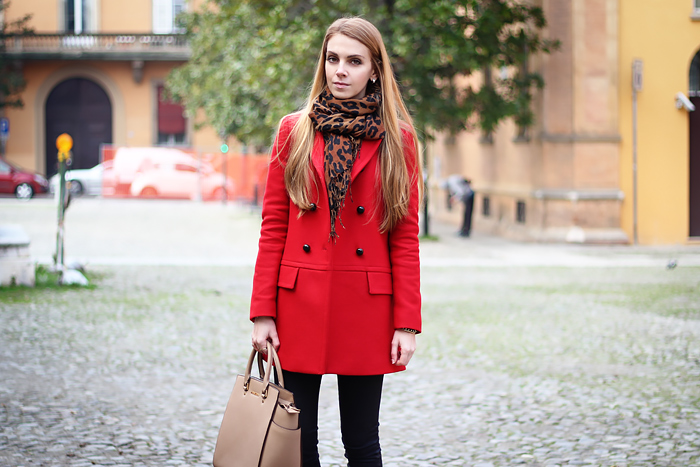 michael kors selma bag, red zara coat, leopard scarf, fall outfit