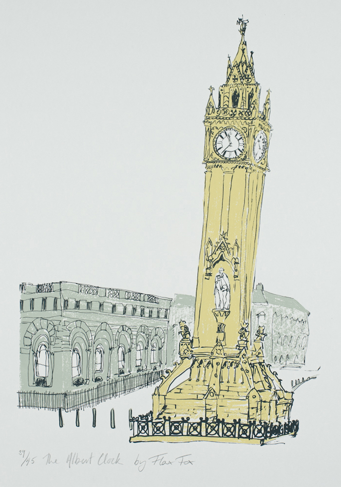 The Albert Clock print by Flax Fox, Belfast