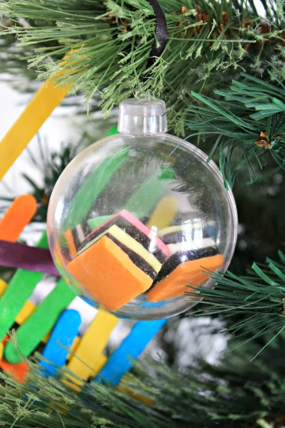 DIY Kid's lolly filled Christmas Ornaments for a bright neon Christmas tree. www.lovethatparty.com.au