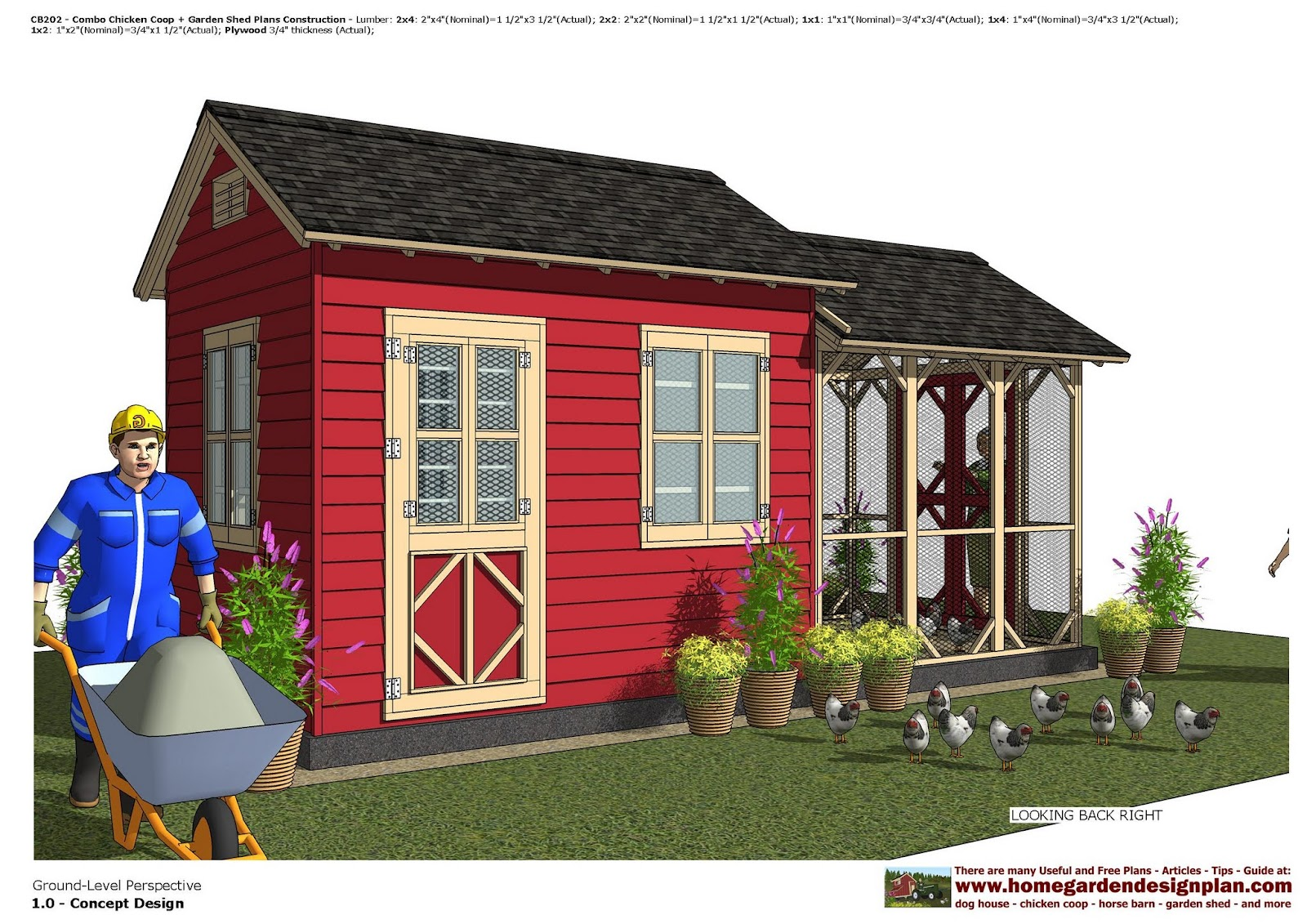Home garden plans cb202 combo chicken coop garden for Free shed design software with materials list