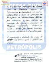 Agradecimento da defesa civil de petropolis