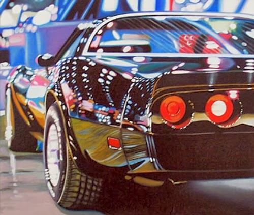 08-Corvette-Cheryl-Kelley-Chrome-Muscle-Cars-Hyper-realistic-Paintings-www-designstack-co
