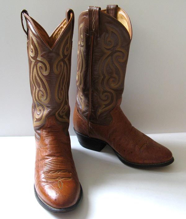 Creative Ostrich Cowboy Boots Mens 8 E Black Western Montana Womens 10 Leather