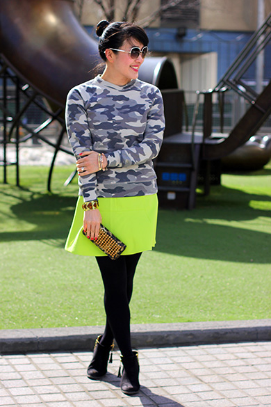 J.Crew camo sweatshirt in mountain white with J.Crew pale citrus fluted skirt in double crepe