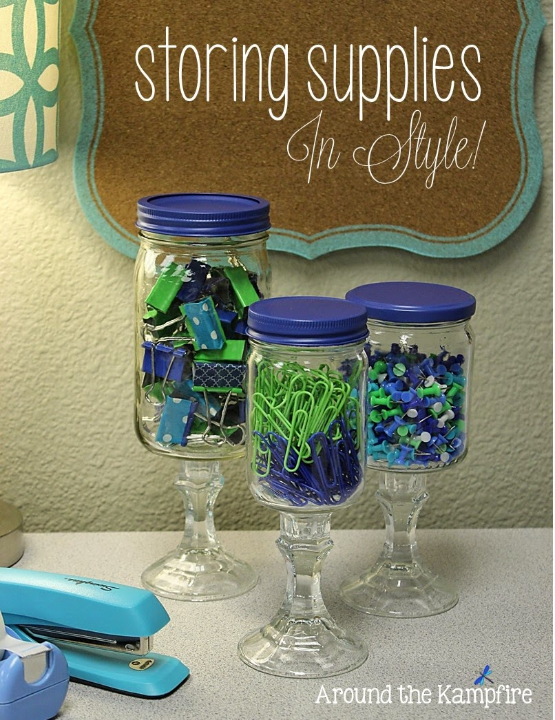 DIY apothecary jars for storing office supplies in style