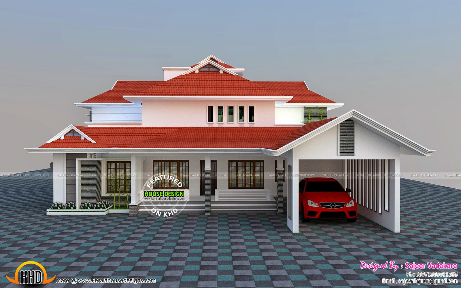 House all side view rendering kerala home design and for Home elevation front side
