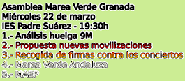 Próxima Asamblea: Miércoles 22 de marzo. 19:30h. IES Padre Suárez