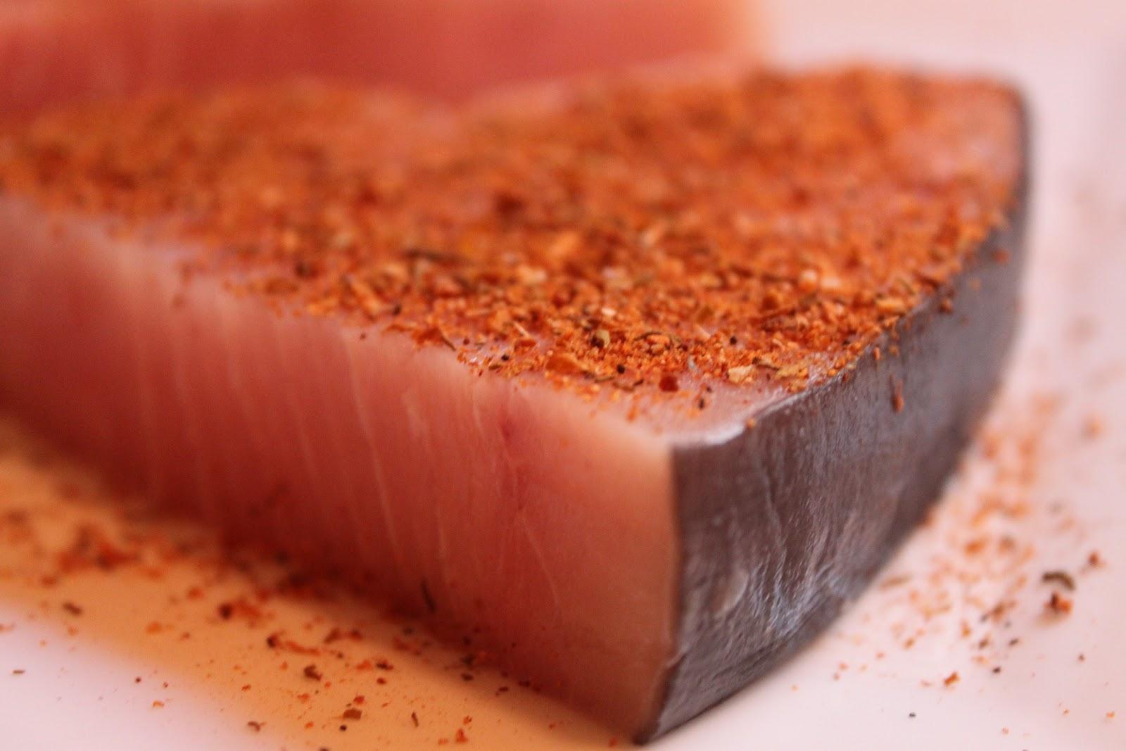 Blackened Swordfish with Tarragon Yogurt Sauce