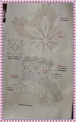 Centro de Mesa em Crochê com Flores e Gráfico