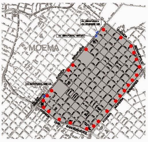Mapa da Área 40 na região de Moema