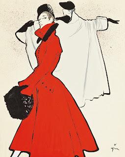 rené gruau affiche manteau rouge 1950 femme dior vanessa lekpa
